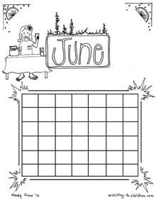 June Coloring Sheet Calendar for Kids
