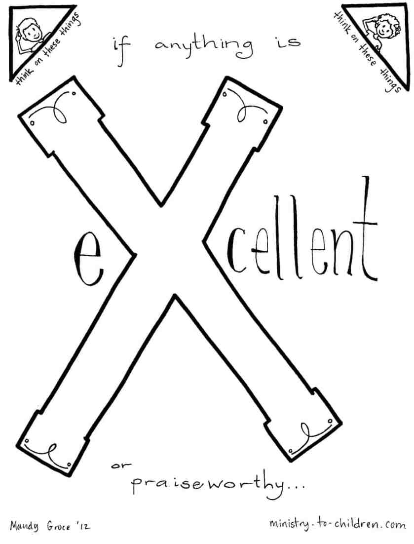 """""""x is for excellent"""" bible alphabet coloring page"""