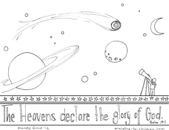 Psalm 19 Coloring Page Quot Heavens Declare The Glory Of God