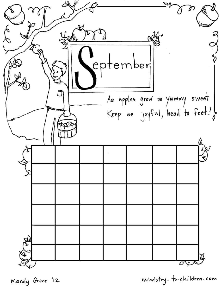 September Coloring Sheet Calendar