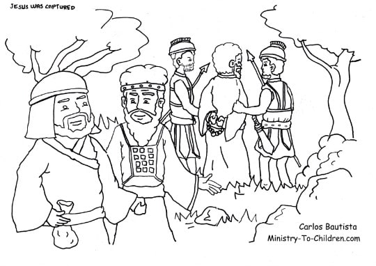 """Judas Betrays Jesus"" Coloring Page"