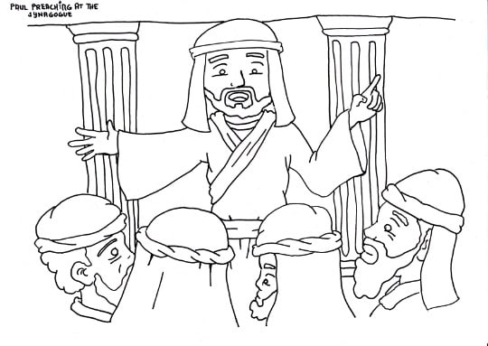 """""""Paul Preaching in the Synagogue"""" Coloring Page"""