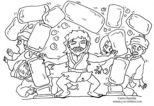 """""""Samson Destroys Dagon's Temple"""" Coloring Page"""
