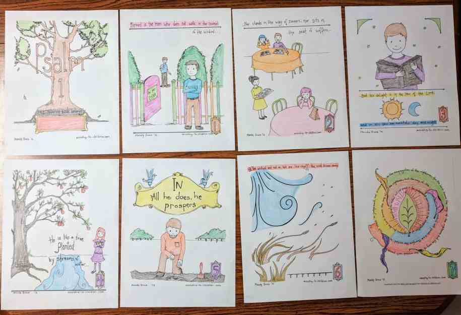 Psalm One Coloring Book for Kids - Example of finished pages