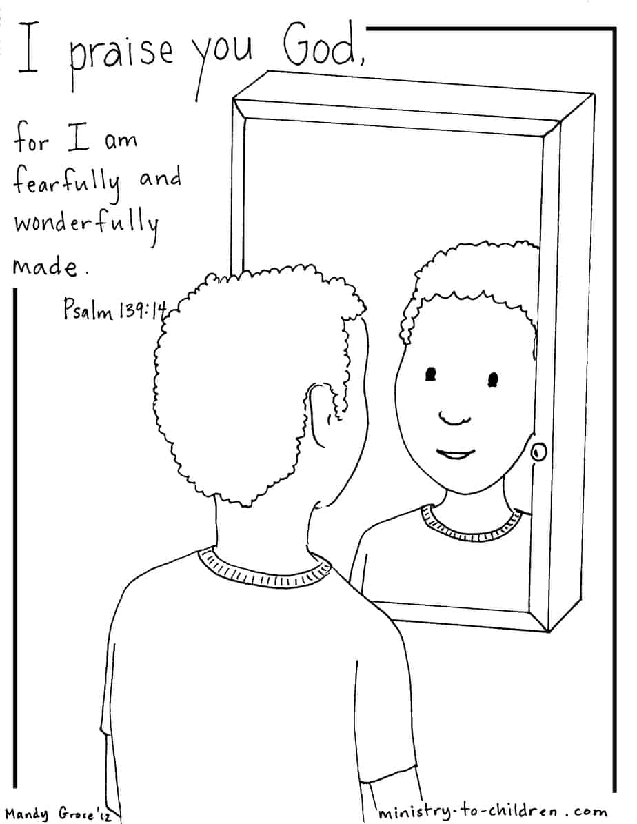 Psalm 139:14 Coloring Page (Boy Version)