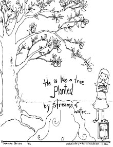 """Planted by Streams of Water"" Pslam 1:3 Coloring Page"