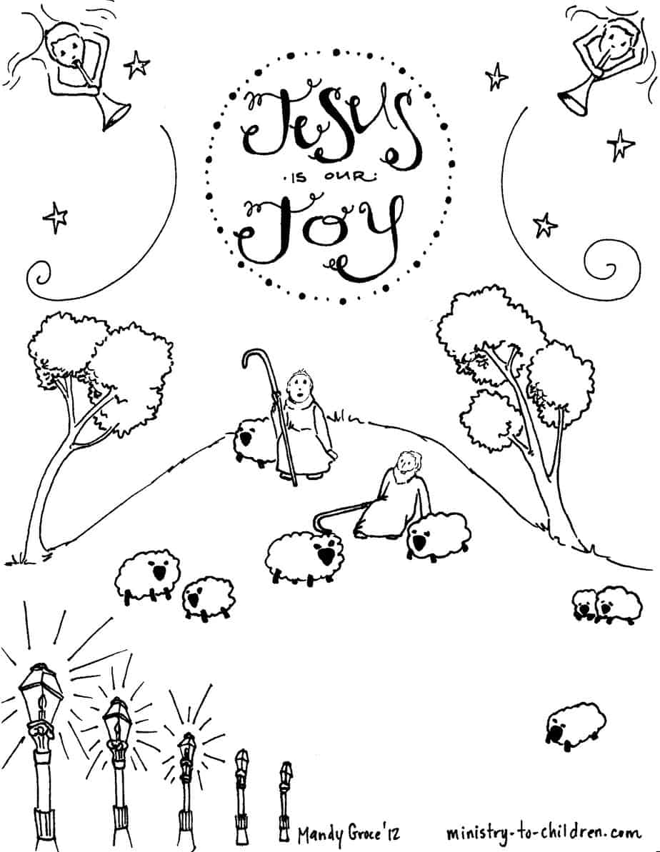 Shepherds Christmas Coloring Pages