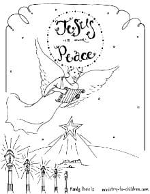 Angels Over Bethlehem Coloring Page for Christmas