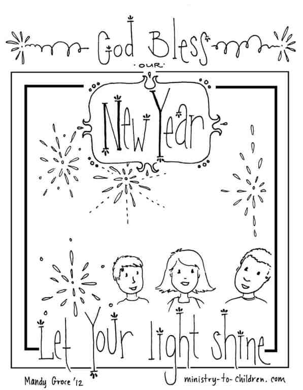 New Year Sunday School Coloring Page