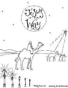 Wise Men Seeking Jesus Coloring Sheet for Christmas
