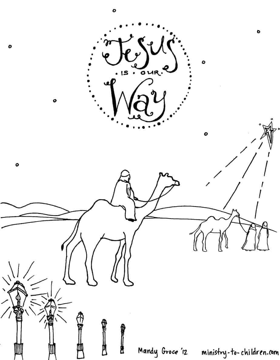 Wise Men Seeking Jesus Coloring Sheet for Christmas