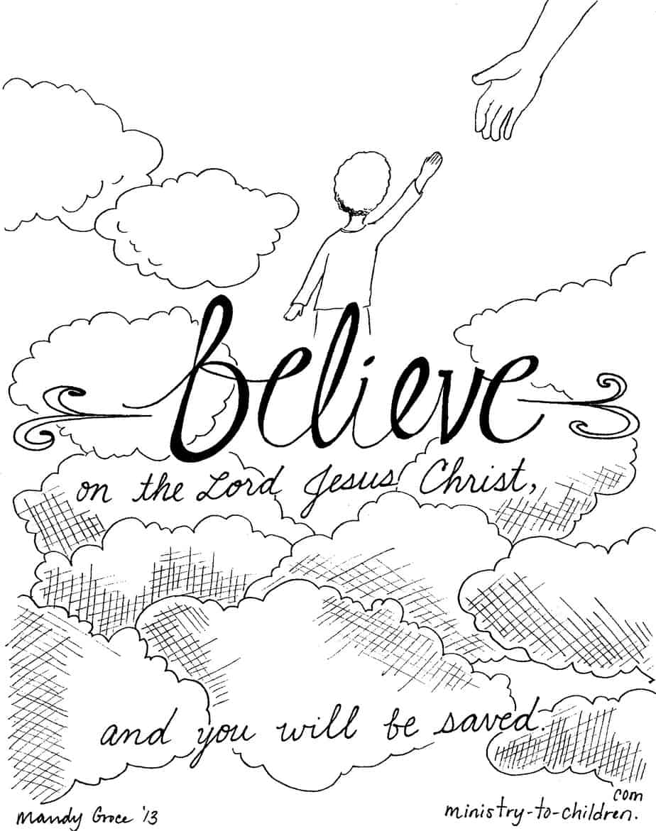 """Believe on the Lord Jesus"" Coloring Page"