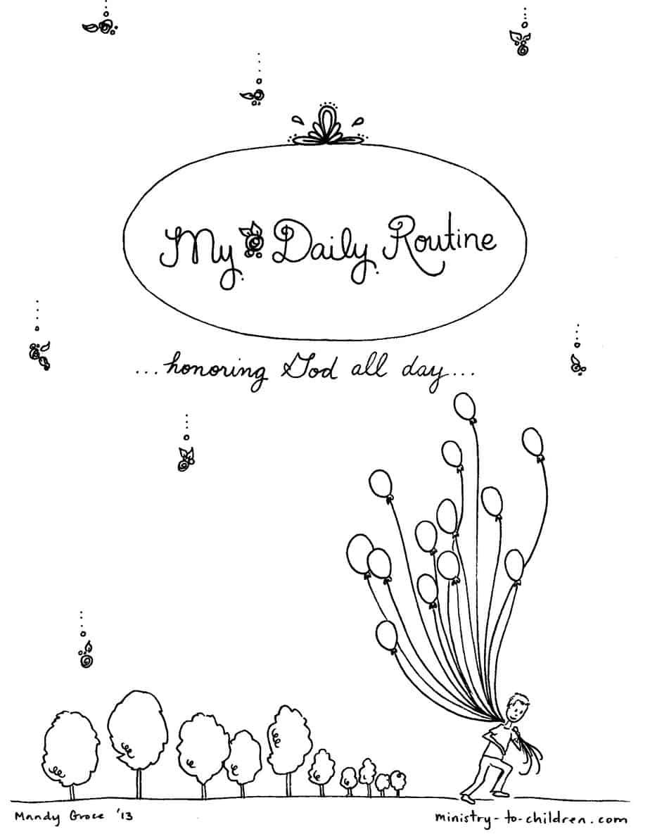 Daily Routine Coloring Book for Children (free printable)