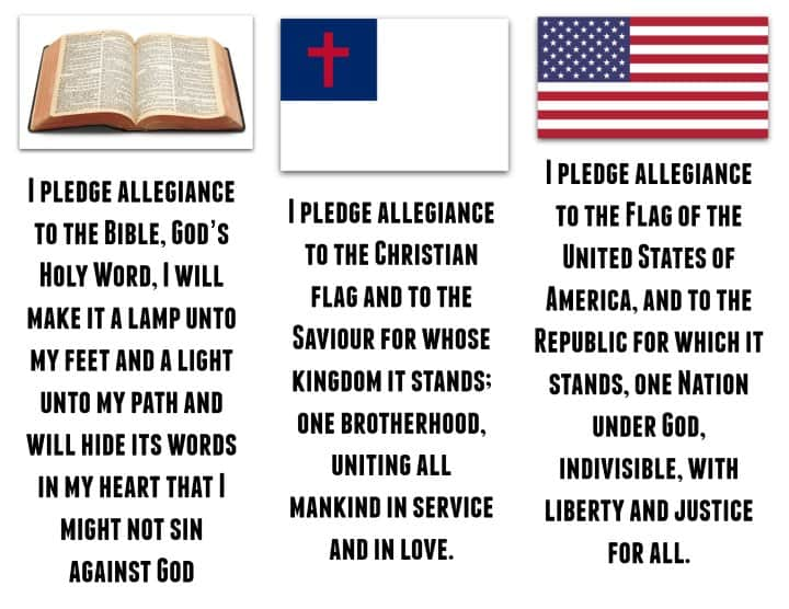 Vbs Pledges To The Bible American And Christian Flag