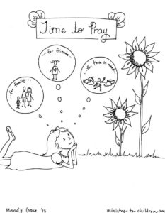 """Time to Pray"" Coloring Page for Children"