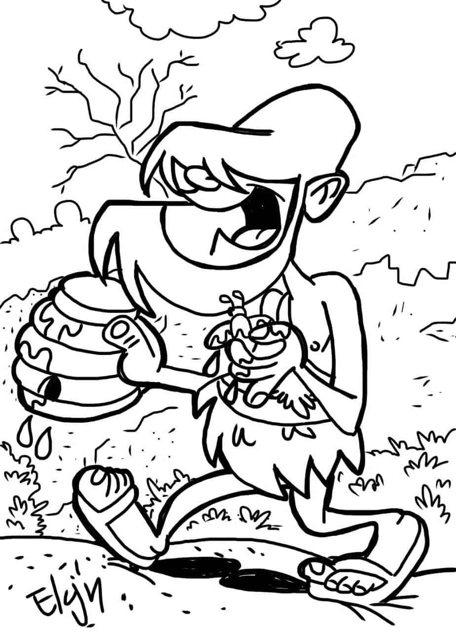 John the baptist locusts and honey coloring page