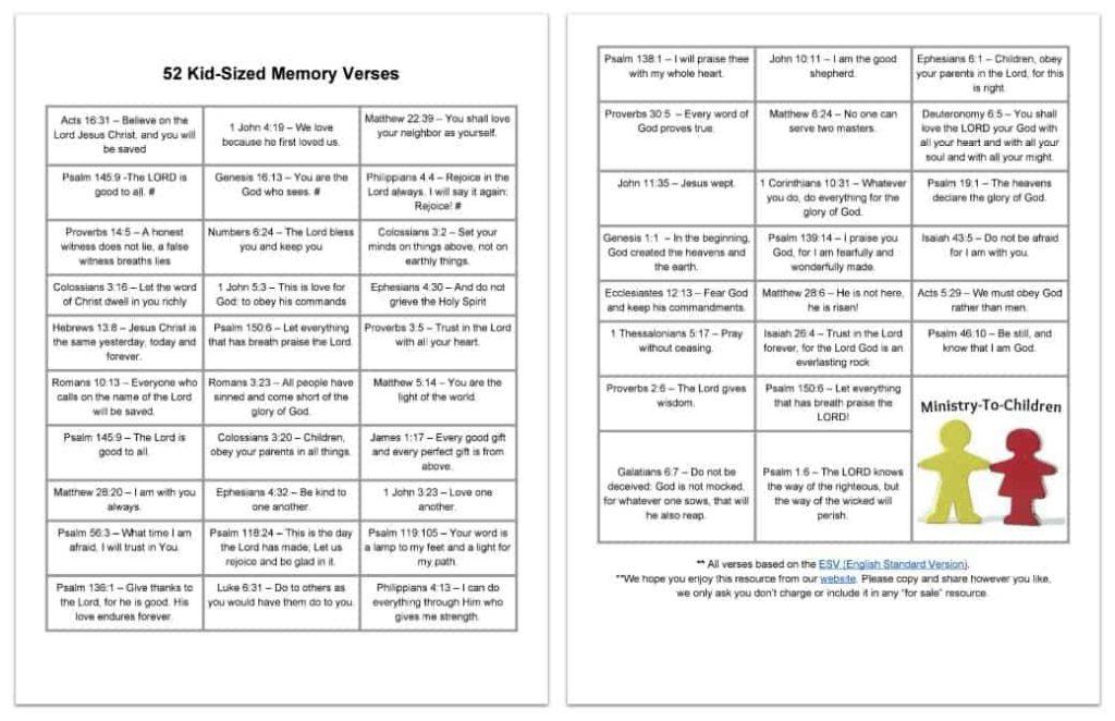 52 Bible Memory Verses for Kids
