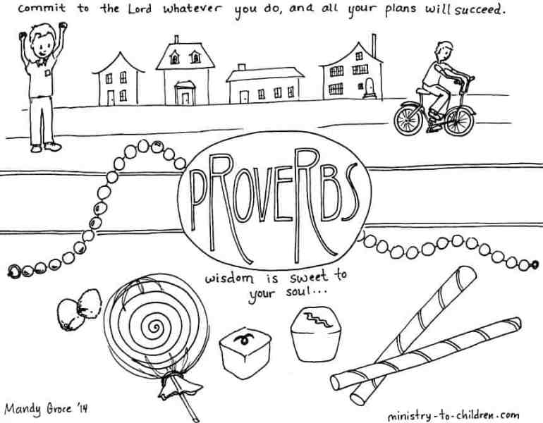 """Proverbs"" Bible Coloring Page about wisdom"