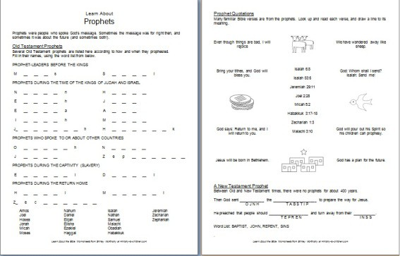 Bible Worksheet - Learn about the Propehets