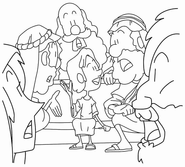 """""""Young Boy Jesus in the Temple"""" Coloring Page (Luke 2:41"""