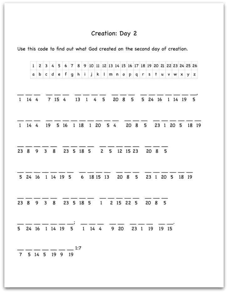 Creation Day 2 Bible Verse Decoding Worksheet