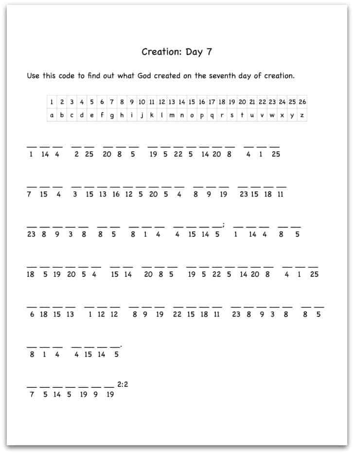 Creation Day 7 Bible Verse Decoding Worksheet