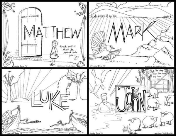 Free Coloring Pages for the Four Gospels