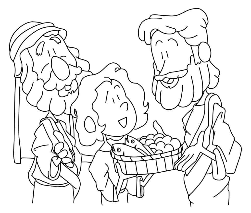 Jesus Feeds 5,000 Coloring Page — Ministry-To-Children.com