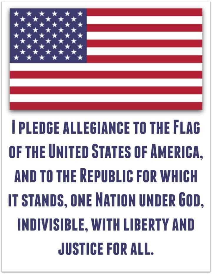 Pledge of Allegiance - American Flag  Printable