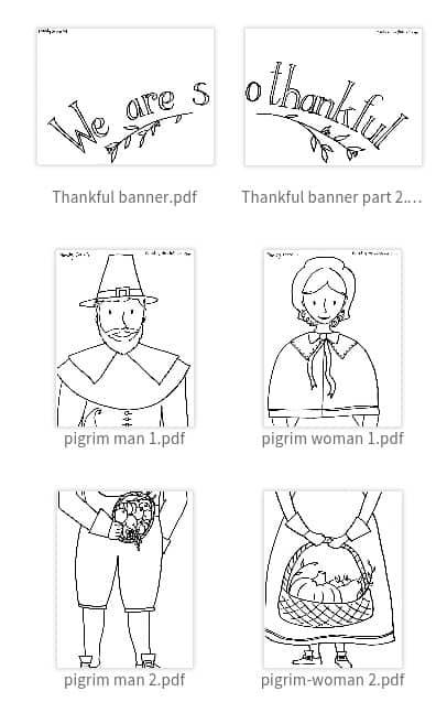 Printable Pilgrim Coloring Sheets & Thanksgiving Craft