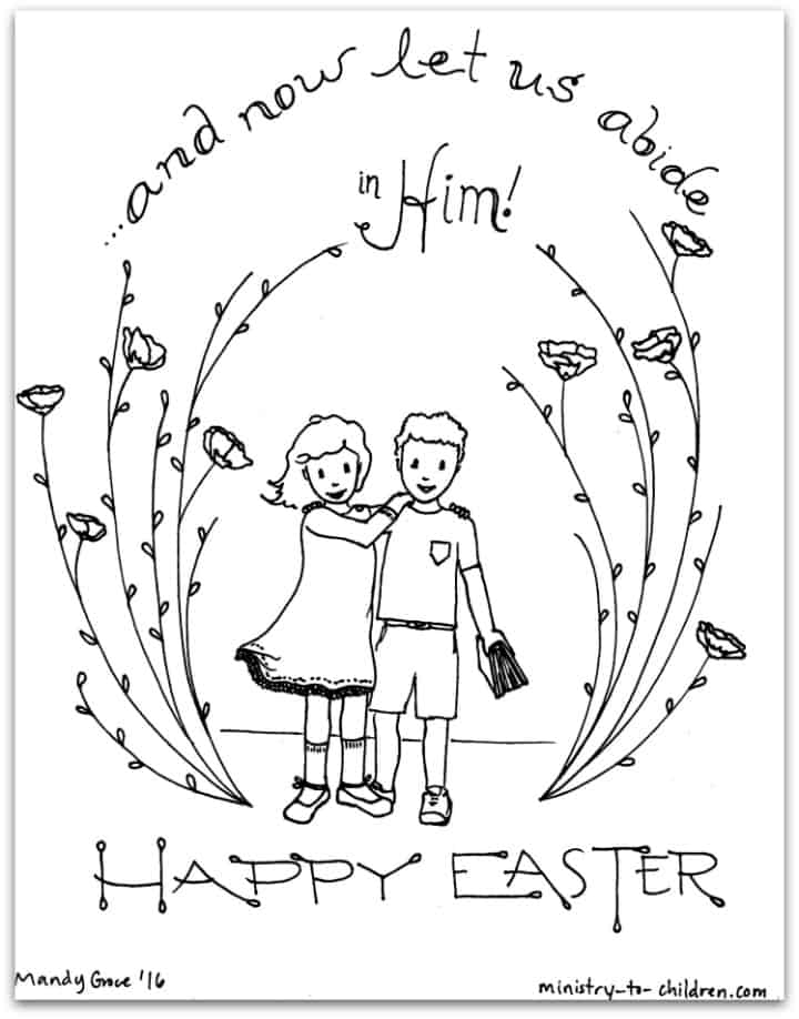 """""""Let Us Abide in Him"""" Easter Coloring Page"""