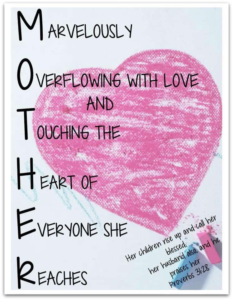 Mother Acrostic Poem Easy Print  MinistryToChildren