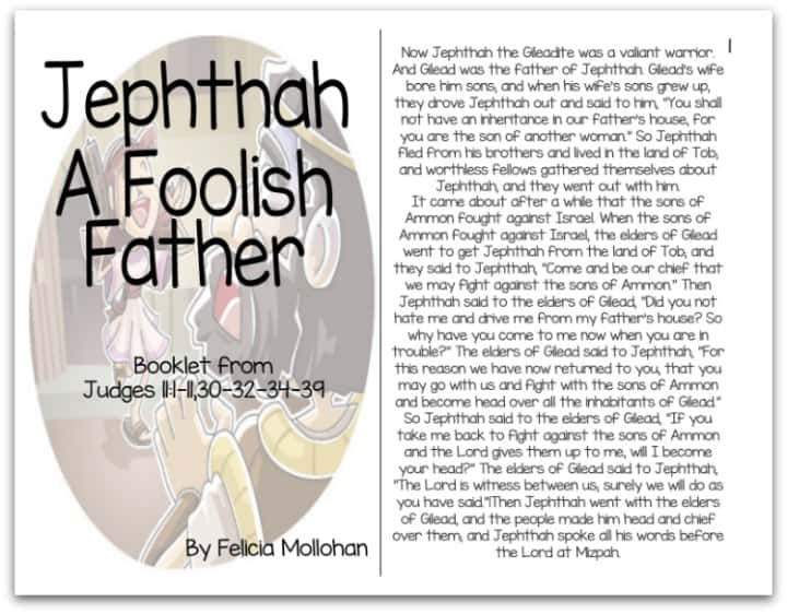 """""""Jephthah a Foolish Father"""" Bible Story Booklet"""