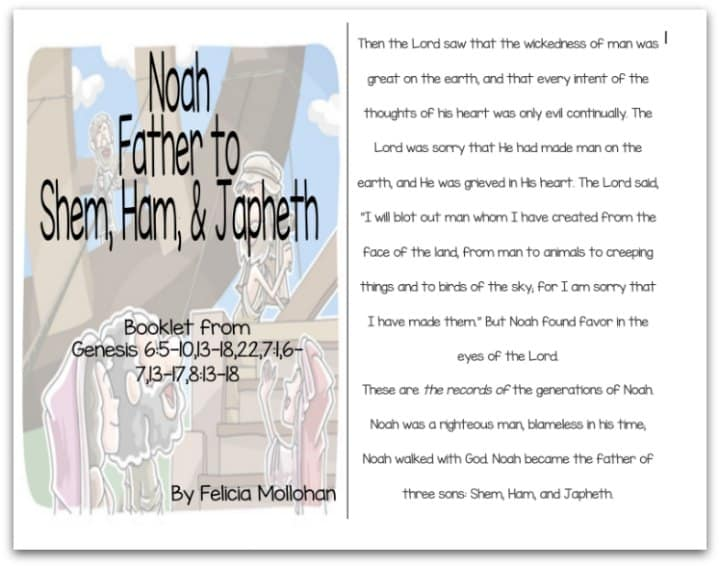 """Noah, Father to Shem, Ham, & Japheth"" Bible Story Booklet"