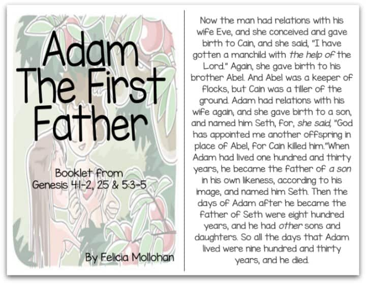 """""""Adam the First Father"""" Bible Story Booklet"""