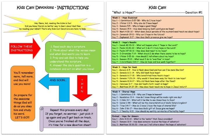 devotions for kids - free printable PDF