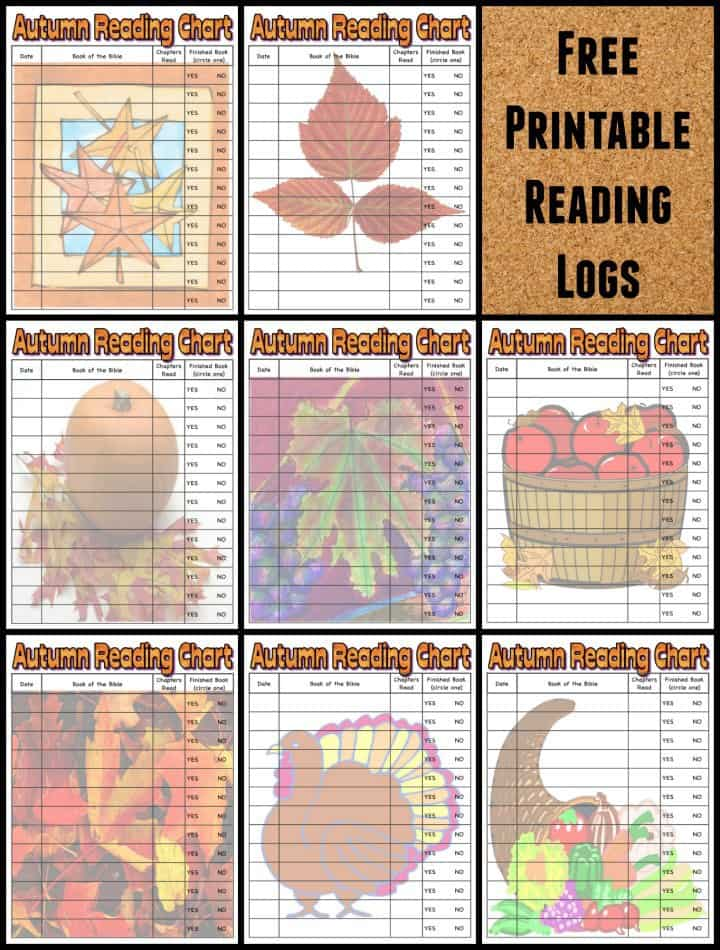 Autumn Fall Bible Reading Logs for Kids Free Printable