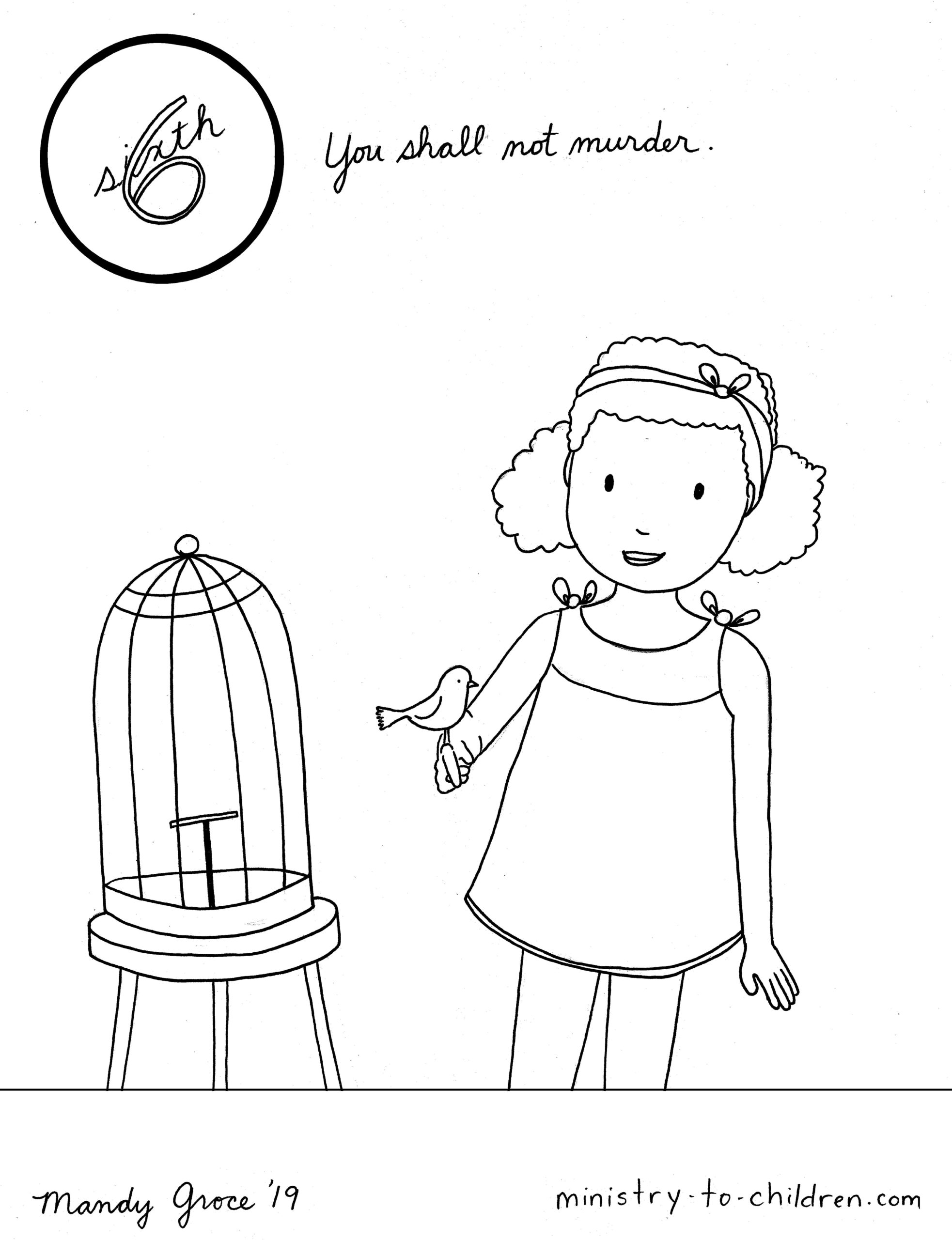 6th Commandment Coloring Page: You Shall Not Murder
