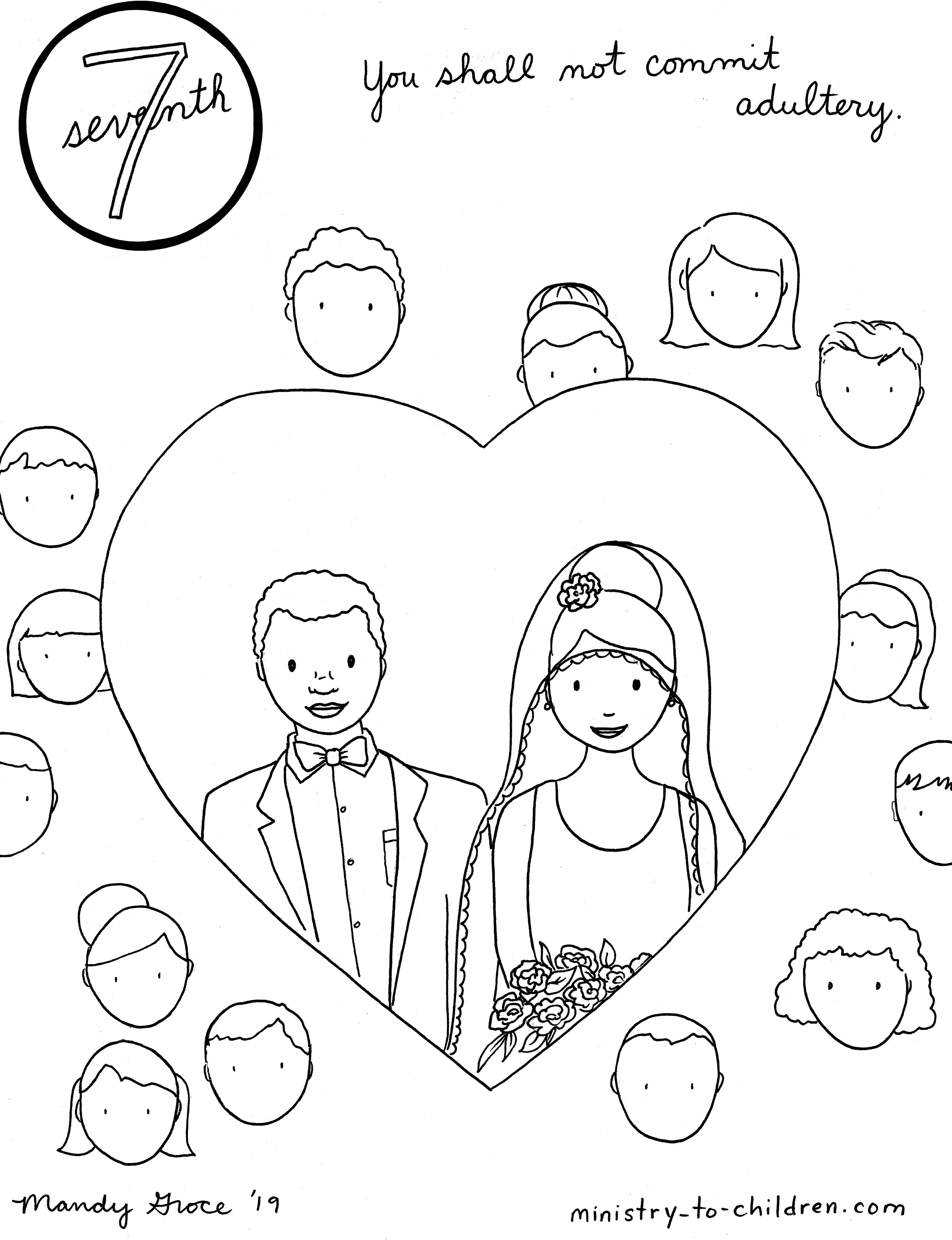 7th Commandment Coloring Page: Not Commit Adultery