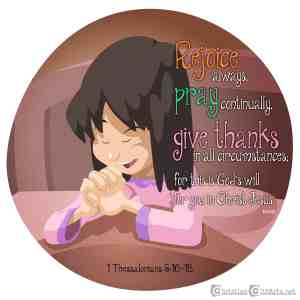 Clip art child praying with Bible verse 1 Thessalonians 5:16-18 Pray Continually