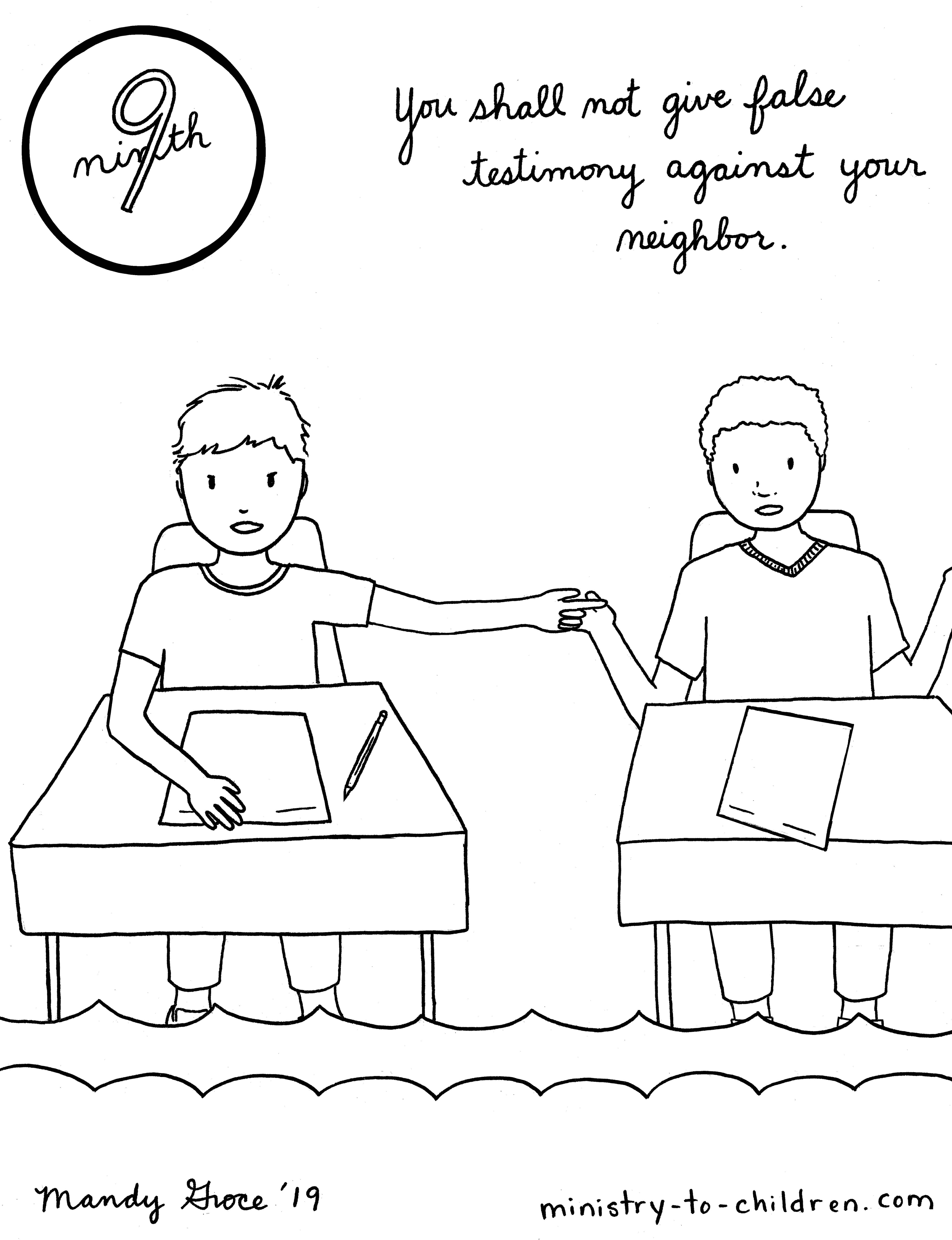 9th Commandment Coloring Page: You Shall Not Lie