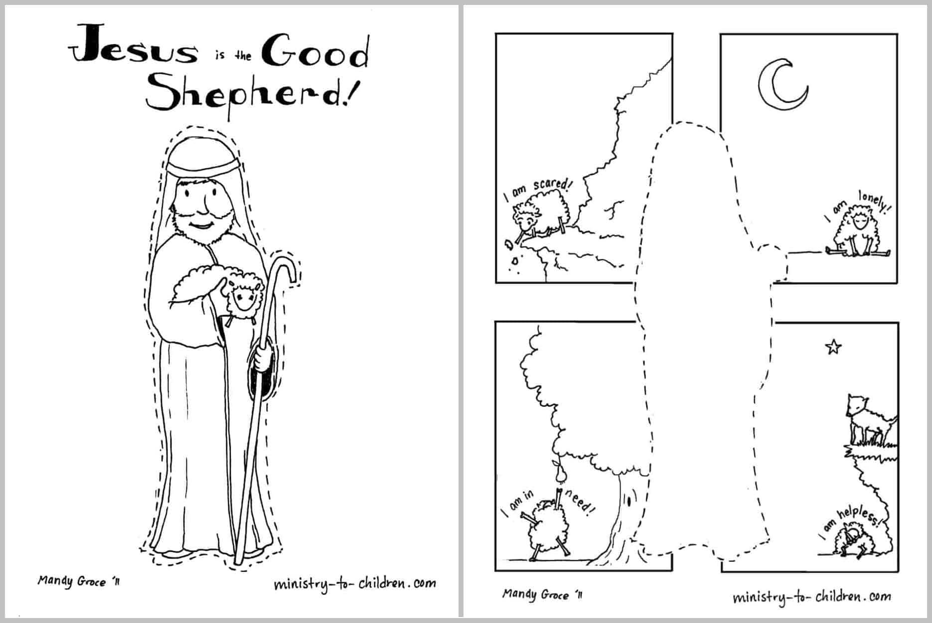 Jesus is the Good Shepherd [Coloring Page] Easy Print