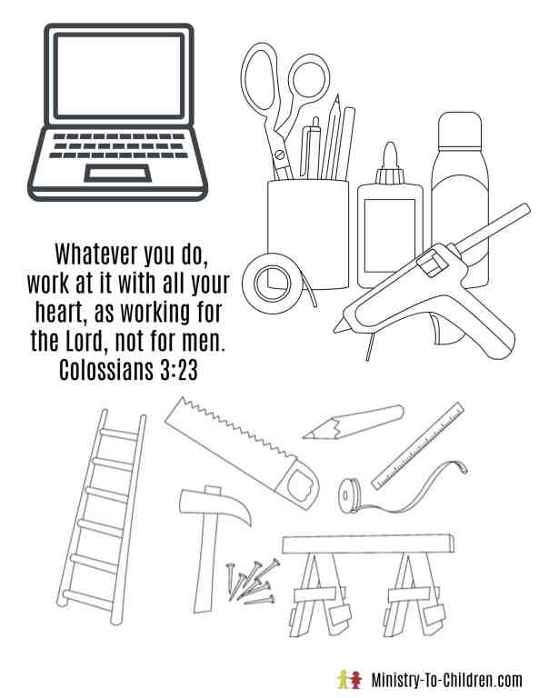 Work for the Lord - Coloring Page for Labor Day