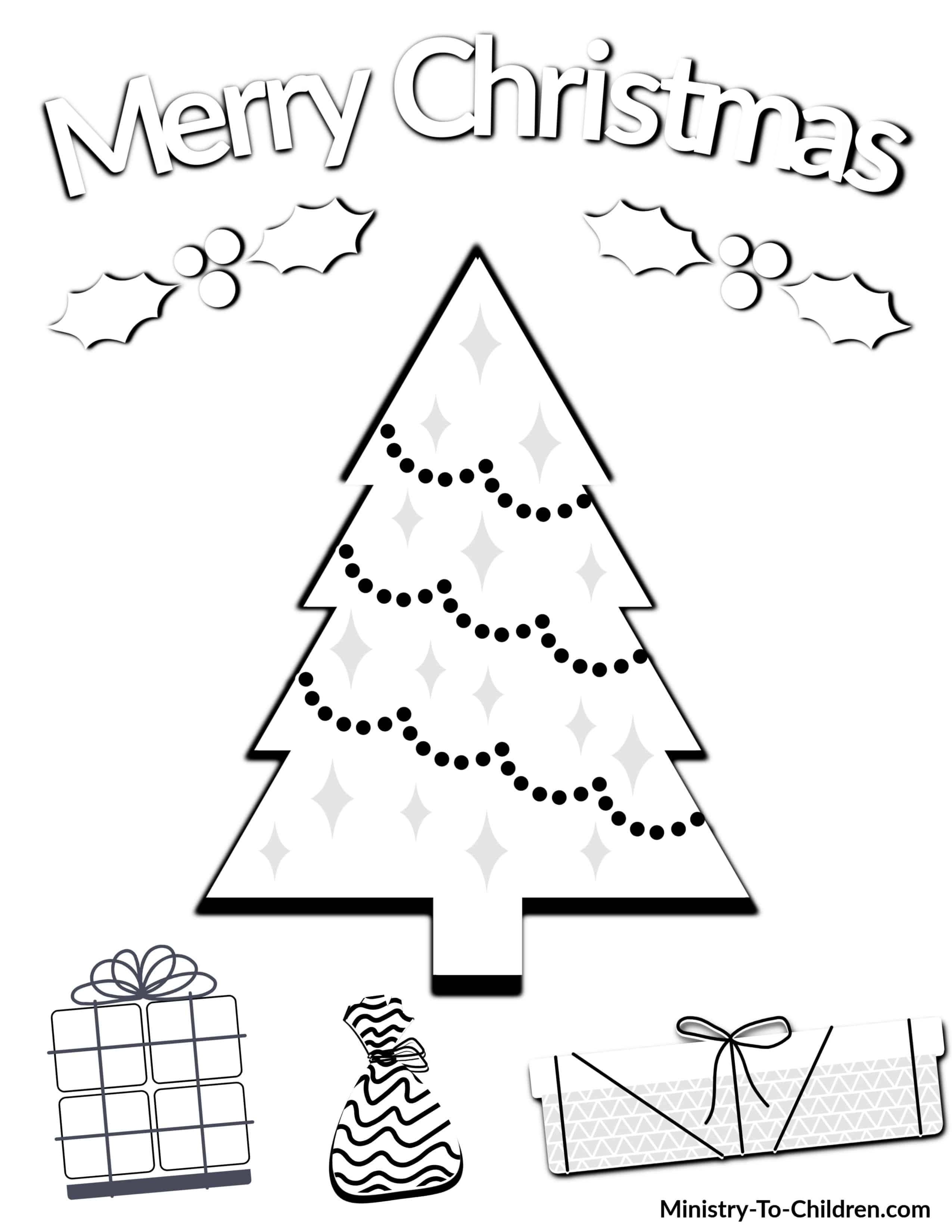 Christmas Coloring Pages for Kids (100% FREE) Easy Printable PDF [ 3300 x 2550 Pixel ]