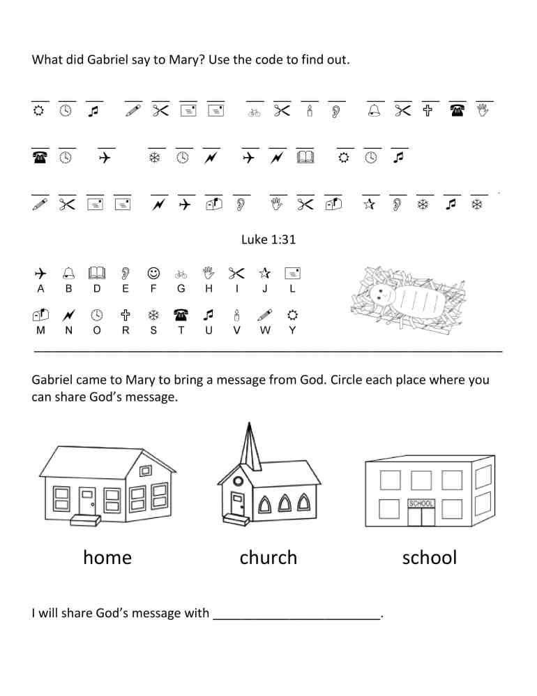 church worksheet about Jesus