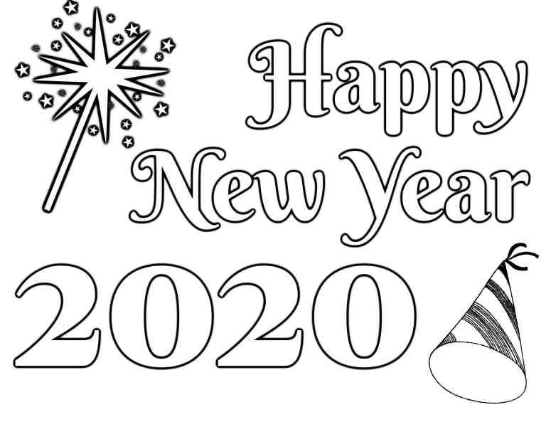 Happy New Year 2020 coloring page