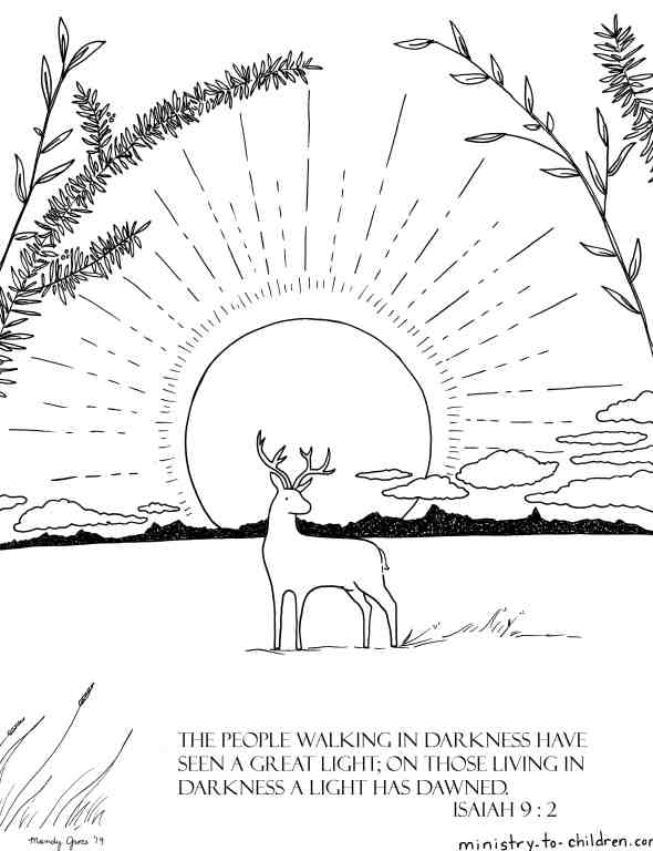 Isaiah 9 verse 1 Coloring Page - The People walking in darkness have seen a great light; on those living in darkness a light has dawned.