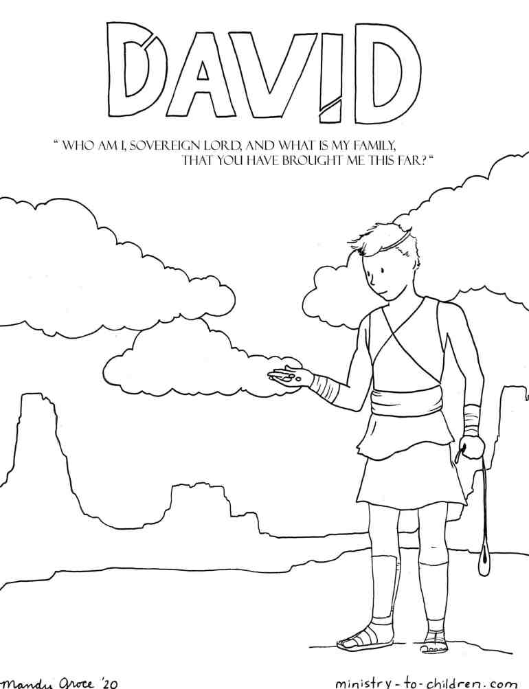 Young Shepherd David trusts God coloring page