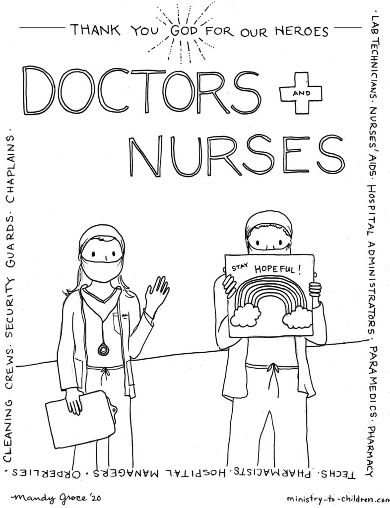 Coloring Page: Healthcare Workers are Heroes (Doctors and