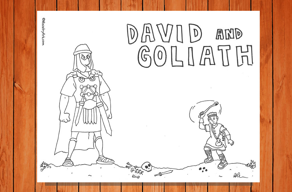 Monster image with david and goliath printable story